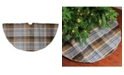 """Northlight 48"""" Brown Plaid Rustic Woodland Christmas Tree Skirt with Gold Trim"""