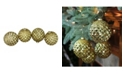 "Northlight 4ct Gold Glitter Flake Christmas Glass Ball Ornaments 4"" 100mm"