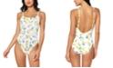 Jessica Simpson Nice Lemons Printed Tie-Waist One-Piece Swimsuit