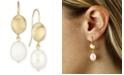 Macy's Beaded Pearl (10 x 8 mm) Drop Earrings Set in 14k Yellow Gold