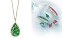 "EFFY Collection EFFY® Emerald (3-1/20 ct. t.w.) and Diamond (1/4 ct. t.w.) Teardrop 18"" Pendant Necklace in 14k Gold"