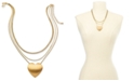 """INC International Concepts INC Gold-Tone Heart Layered Pendant Necklace, 17"""" + 3"""" extender, Created for Macy's"""