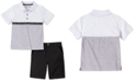 Calvin Klein Toddler Boys 2-Pc. Colorblocked Logo Tape Polo Shirt & Twill Shorts Set