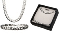 "INOX Curb Chain 8"" Bracelet and 22"" Necklace Set"