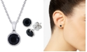 Macy's 2-Pc. Set Onyx Pendant Necklace & Matching Stud Earrings in Sterling Silver