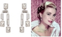 Grace Kelly Collection Rhodium Plated Twin Drop Pierced Earring