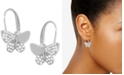 Essentials Cubic Zirconia Butterfly Drop Earring in Fine Silver Plate, Gold Plate or Rose Gold Plate