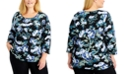 Karen Scott Plus Size Floral-Print 3/4-Sleeve Top, Created for Macy's