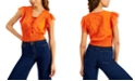 INC International Concepts INC Plus Size Cotton Eyelet Lace-Up Blouse, Created for Macy's