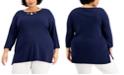 Karen Scott Plus Size Cotton Keyhole-Neck Tunic, Created for Macy's