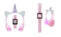 iTouch Kid's Playzoom Pink Unicorn Tpu Strap Smart Watch with Headphones Set 41mm
