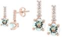 EFFY Collection EFFY® Aquamarine (1-1/2 ct. t.w.) & Diamond (1/6 ct. t.w.) Drop Earrings in 14k Rose Gold