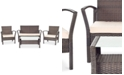 Safavieh Calann Outdoor 4-Pc. Seating Set (1 Loveseat, 2 Chairs & 1 Coffee Table)