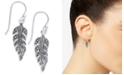 Macy's Marcasite Feather Drop Earrings in Silver-Plate