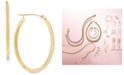 "Macy's Polished Oval Flat-Edge Tube Earrings in 10k Gold, 1-1/5"""