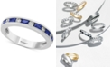 EFFY Collection Bridal by EFFY® Sapphire (5/8 ct. t.w.) & Diamond (1/6 ct. t.w.) Band in 18k White Gold