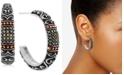 Macy's Marcasite Two-Tone Scroll Design Medium Hoop Earrings