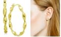 Essentials Twisted Small Medium Hoop Earrings  in Fine Silver Plate