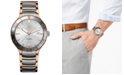 Rado Men's Swiss Automatic Centrix Silver-Tone and Rose Gold-Tone Stainless Steel Bracelet Watch 42mm
