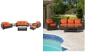 Furniture San Lucia Outdoor 7 Piece Seating Set: 1 Sofa, 1 Loveseat, 1 Swivel Chair, 1 Ottoman, 1 Coffee Table and 2 End Tables