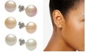 Macy's 3-Pc. Set White, Pink & Peach Cultured Freshwater Button Pearl (8mm) Stud Earrings in Sterling Silver