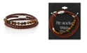 """He Rocks Brown Leather and Tiger Eye Bead Triple Wrap Bracelet with Stainless Steel Clasp, 26"""""""