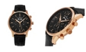 Stuhrling Alexander Watch A101-04, Stainless Steel Rose Gold Tone Case on Black Embossed Genuine Leather Strap