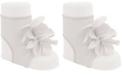 Baby Deer Baby Girl Peep Toe Sock with Flower Overlays