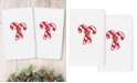 Linum Home Christmas Candy Canes Embroidered 100% Turkish Cotton 2-Pc. Hand Towel Set