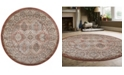 """KM Home CLOSEOUT! 3802/0024/TERRACOTTA Gerola Red 5'3"""" x 5'3"""" Round Area Rug"""