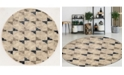"KM Home CLOSEOUT! 3793/1004/BONE Imperia Ivory/ Cream 5'3"" x 5'3"" Round Area Rug"
