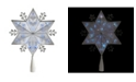 """Northlight 10"""" Silver 6-Point Snowflake Christmas Tree Topper - Blue Lights"""