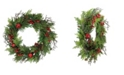 """Northlight 24"""" Rustic Red Jingle Bell Berry and Pine Cone Artificial Christmas Wreath"""