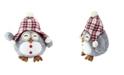 "Northlight 12"" Gray Owl With Plaid Bennie Cap Plush Table Top Christmas Figure"