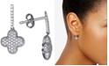 Macy's Diamond Clover Drop Earrings (3/4 ct. t.w.) in 14k White Gold