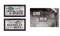 "Trendy Decor 4U Fishing Combo 2-Piece Vignette by Robin-Lee Vieira, Black Frame, 20"" x 11"""