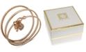 Anne Klein Gold-Tone 3-Pc. Set Pavé Heart Lock & Key Bangle Bracelets