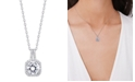 Macy's Cubic Zirconia Drop Cushion Pendant Necklace in Fine Silver Plate