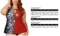 Raisins Curve Trendy Plus Size Juniors' Flourish Printed Rosalie High-Neck Underwire Tankini Top