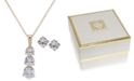 """Anne Klein Gold-Tone Crystal Stud Earrings & Pendant Necklace, 16"""" + 3"""" extender, Created for Macy's"""
