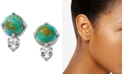 AVA NADRI Silver-Tone Turquoise (8mm) & Crystal Stud Earrings