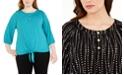 Adrienne Vittadini Plus Size Dot-Print Top