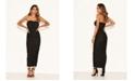 AX Paris Women's Strapless Ruched Bodycon Midi Dress