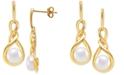 Giani Bernini Cultured Freshwater Pearl (7mm) Twist Drop Earrings, Created for Macy's