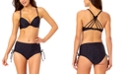 California Waves Juniors' Strappy Bikini Top & High-Waist Drawstring Bottoms, Created for Macy's