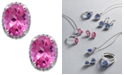 Macy's 14k White Gold Pink Topaz (4 ct. t.w.) and Diamond (1/6 ct. t.w.) Stud Earrings