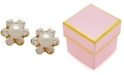 Macy's Children's Cultured Freshwater Pearl (3-3/4mm) and Cubic Zirconia Stud Earrings in 14k Gold