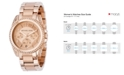 Michael Kors Women's Chronograph Blair Rose Gold-Tone Stainless Steel Bracelet Watch 41mm MK5263