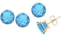 Macy's Blue Topaz Stud Earrings (6-3/4 ct. t.w.) in 14k Gold