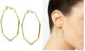 Essentials Hexagon Large Medium Hoop Earrings  in Gold Plate